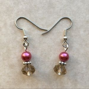 Jewelry - 4/$25 Pink Champagne Beaded Earrings Silver Tone